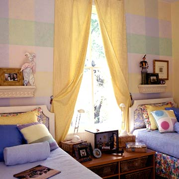 Plaid Kids Room With Yellow Curtains