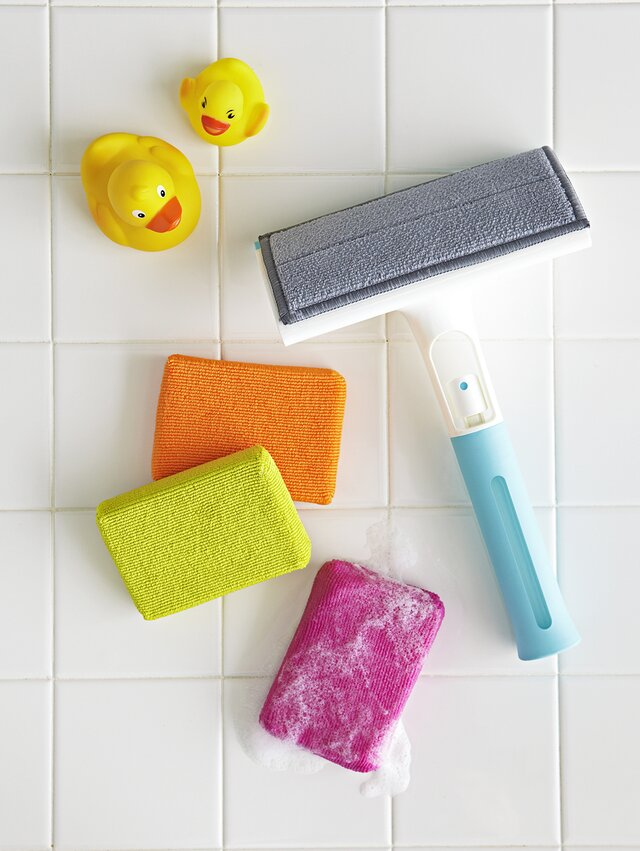 shower cleaning tools squeegee and sponges