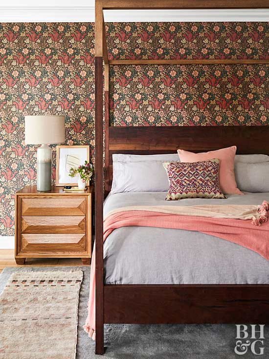 warm modern bedroom with floral wallpaper