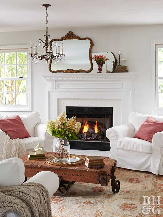 white living room and fireplace