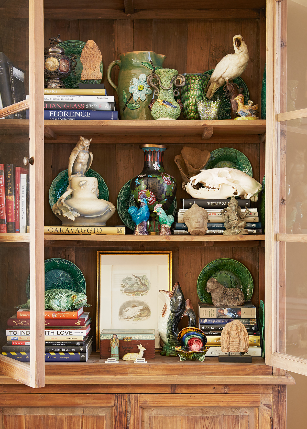 assorted items in curio cabinet
