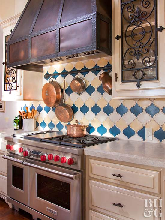 tuscan kitchen with colorful tile