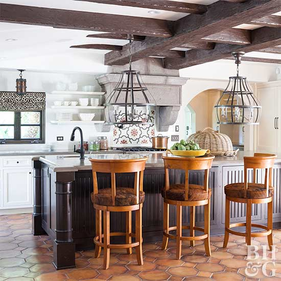 tuscan kitchen with open shelving