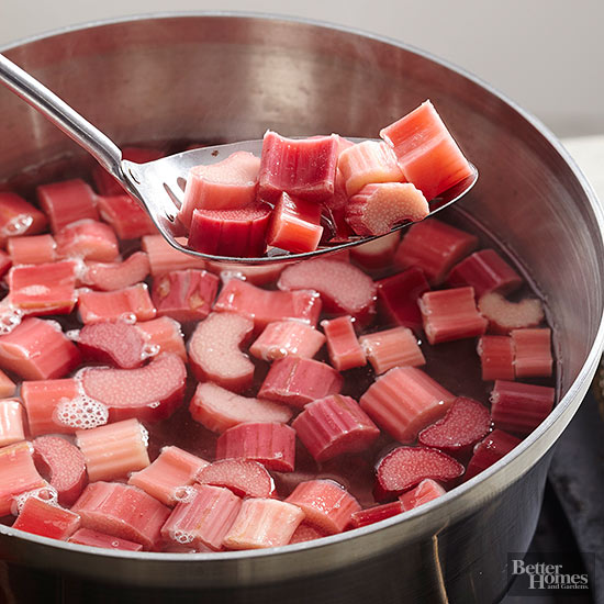 Rhubarb being removed from pan