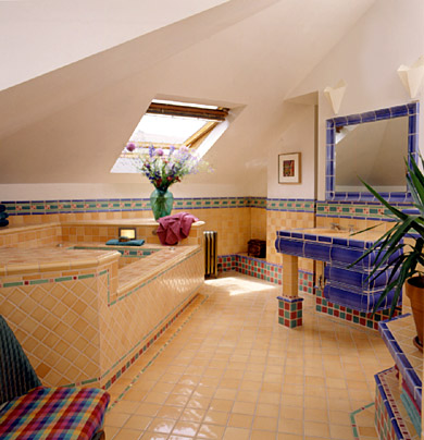 Yellow and Multi-Colored Tile Bath