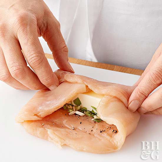 Rolling chicken roll up
