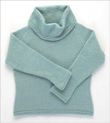 Blue knit cowl neck sweater