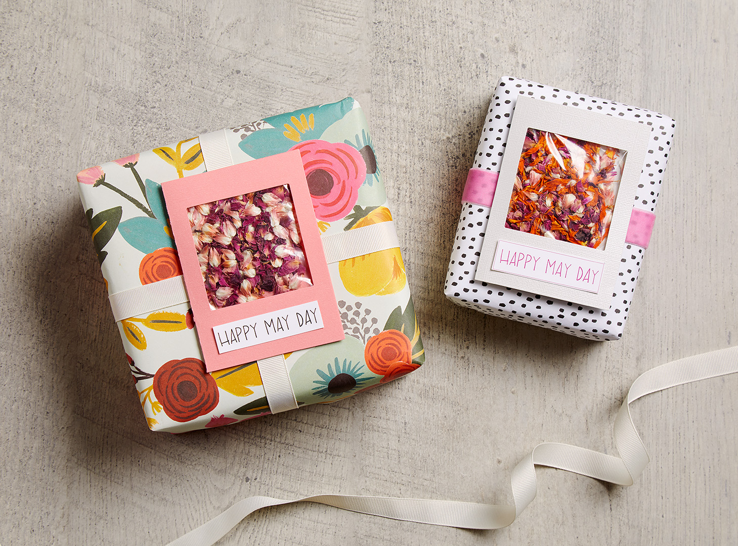 presents with diy Happy May Day gift tags