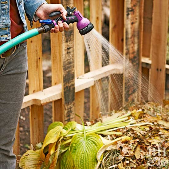 compost pile, watering compost, compost