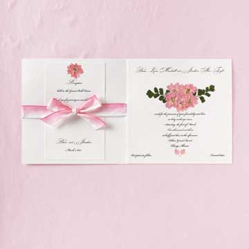 pink flower and bow invitation