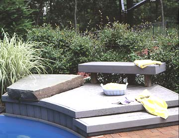 Small poolside deck surrounded by shrubs