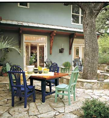 Backyard Patio with table and trees