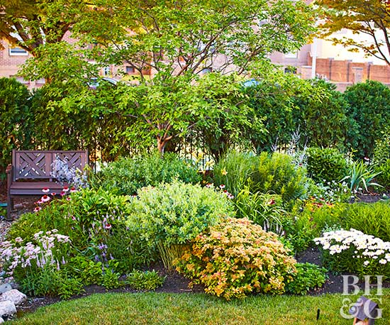 BHG Test Garden plantings and bench