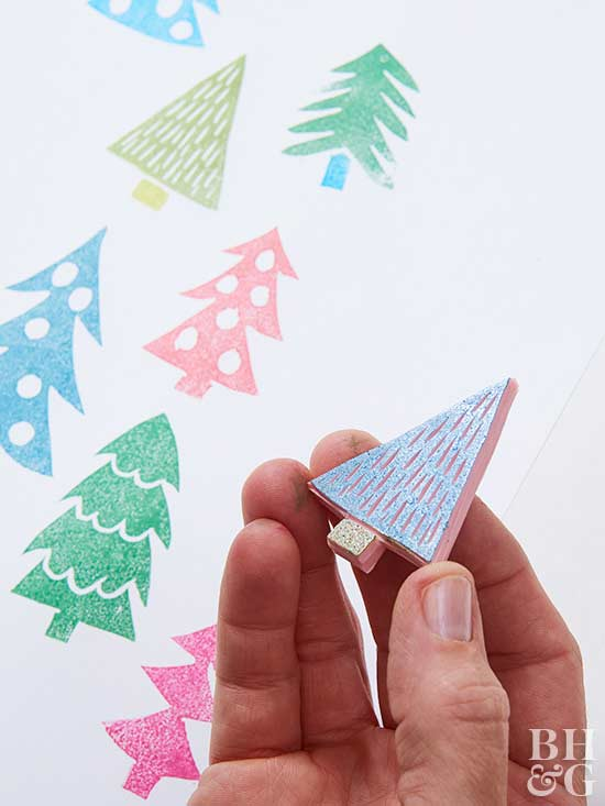stamps, Christmas tree stamps, tree