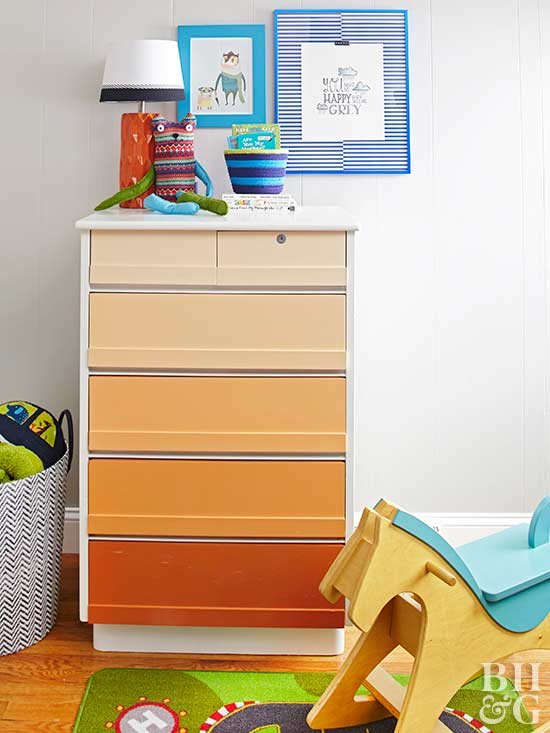 kids room with colored dresser