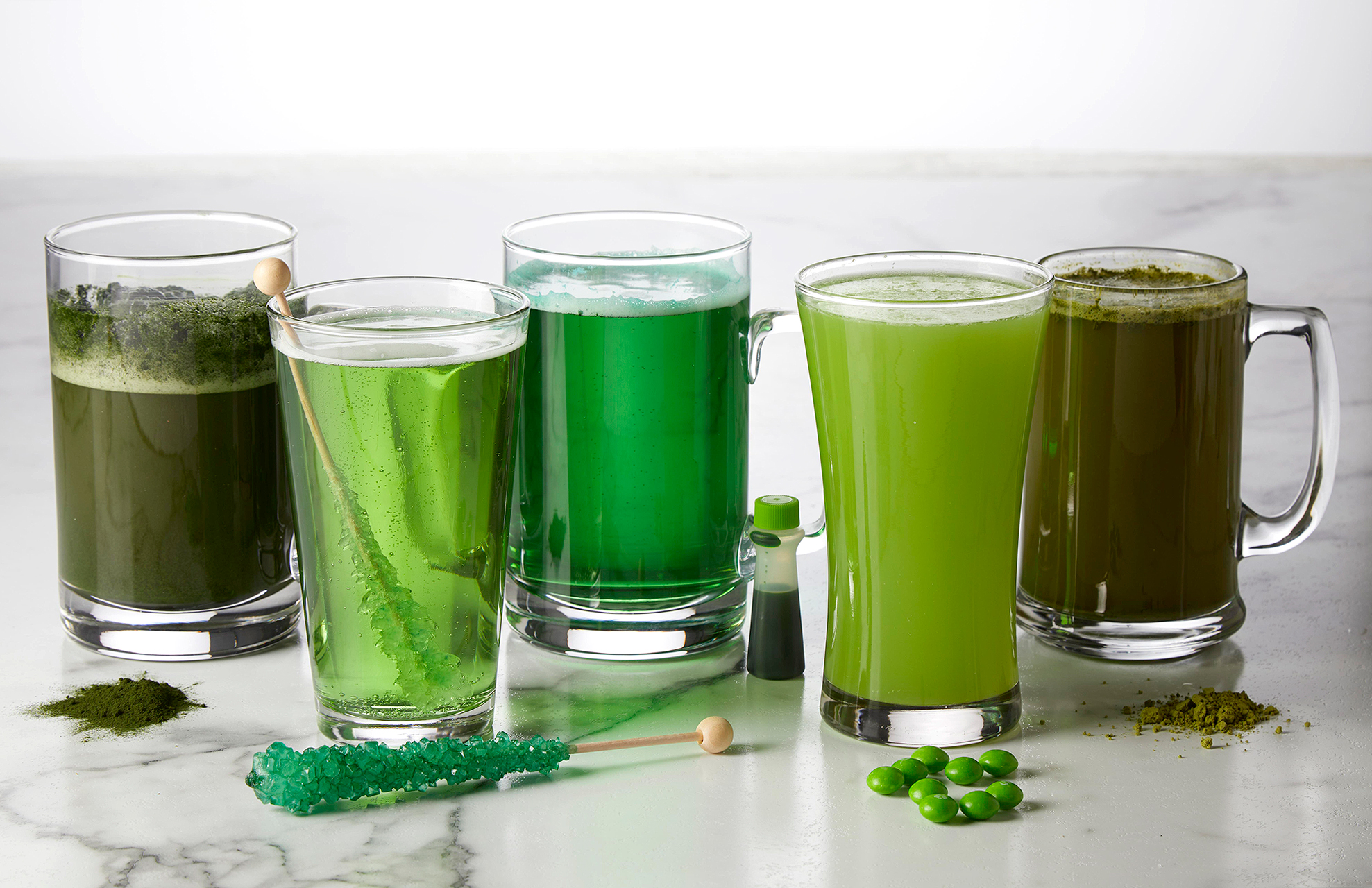 DIY green beer with various mix-ins