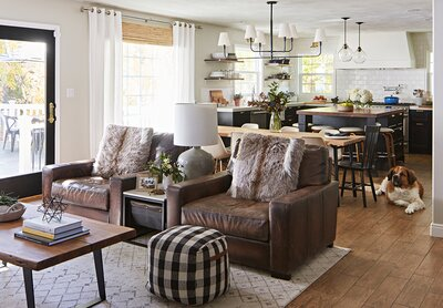 Great Room Kitchen Area With Leather Chairs