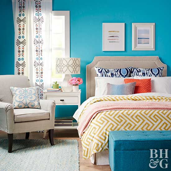 bright turquoise modern bedroom