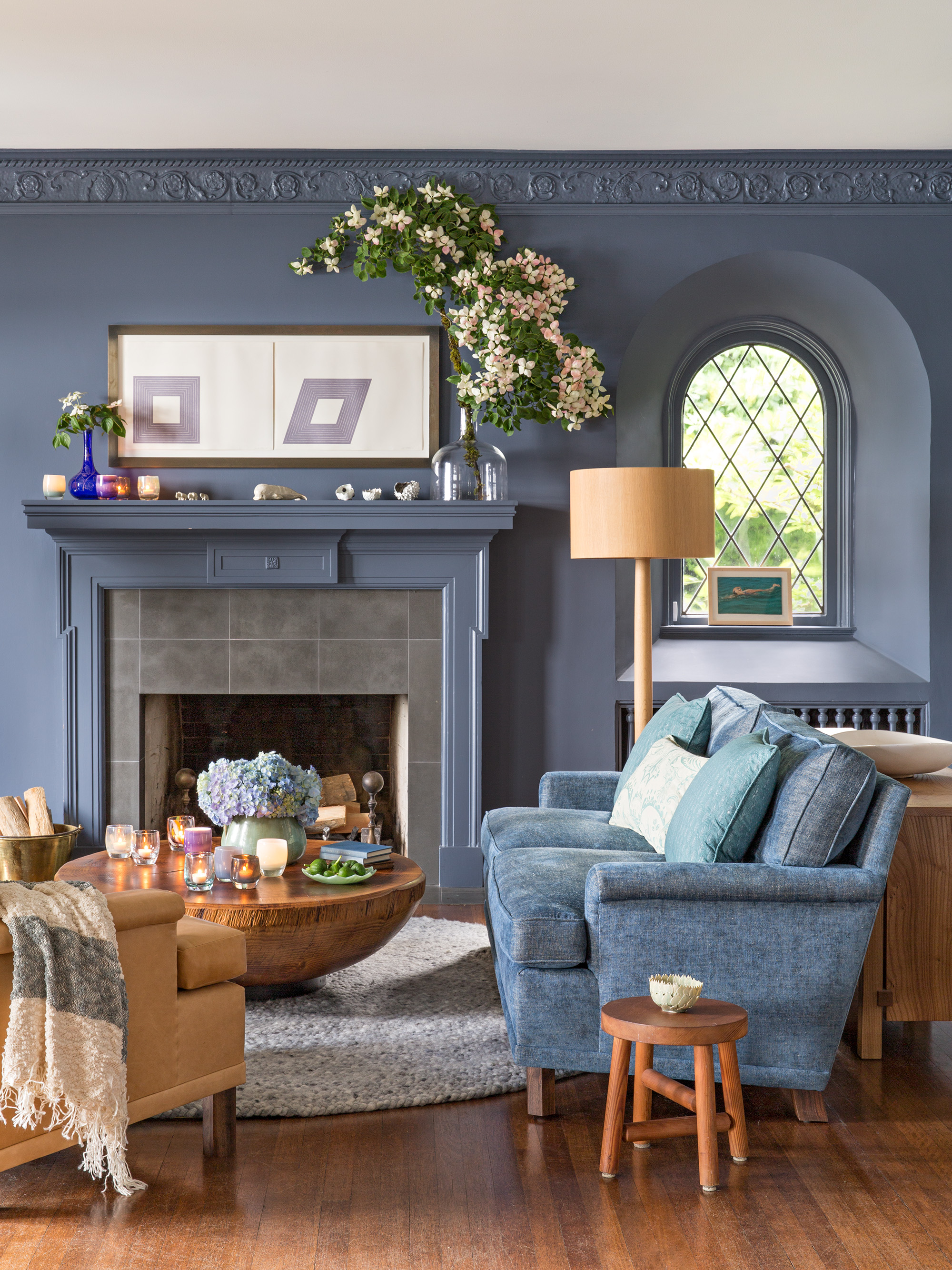 blue wall mantel loveseat in living room