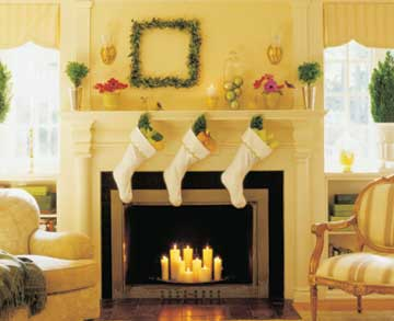 stockings over candles in fireplace