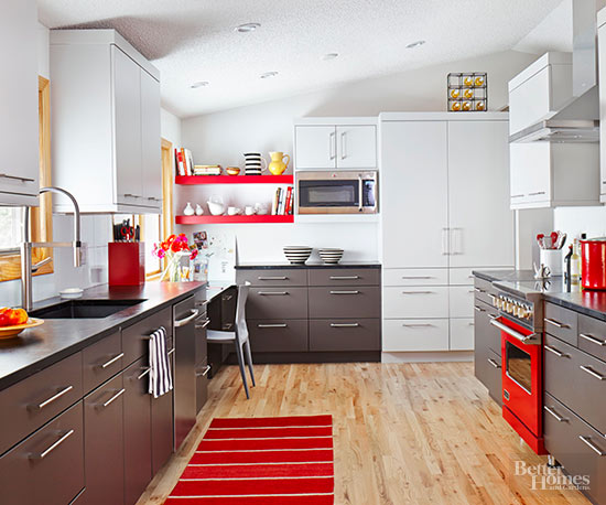gray white and red kitchen