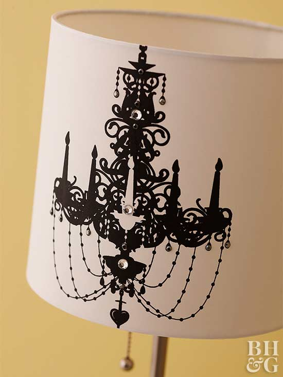 Lampshade with screen-printed chandelier
