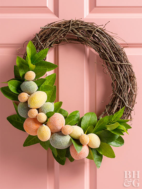 fruit wreath on pink door
