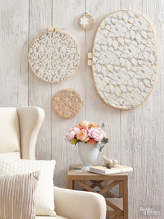 diy wall art with embroidery hoops covered with lace