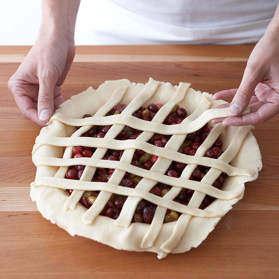 Laying strips over other pie dough