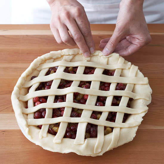 Connecting strips to pie dough