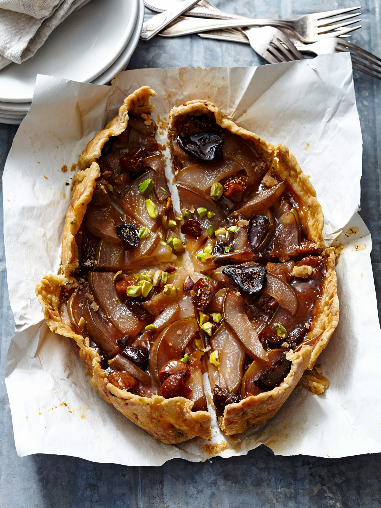 Pear-Fig Pie with White Cheddar Crust