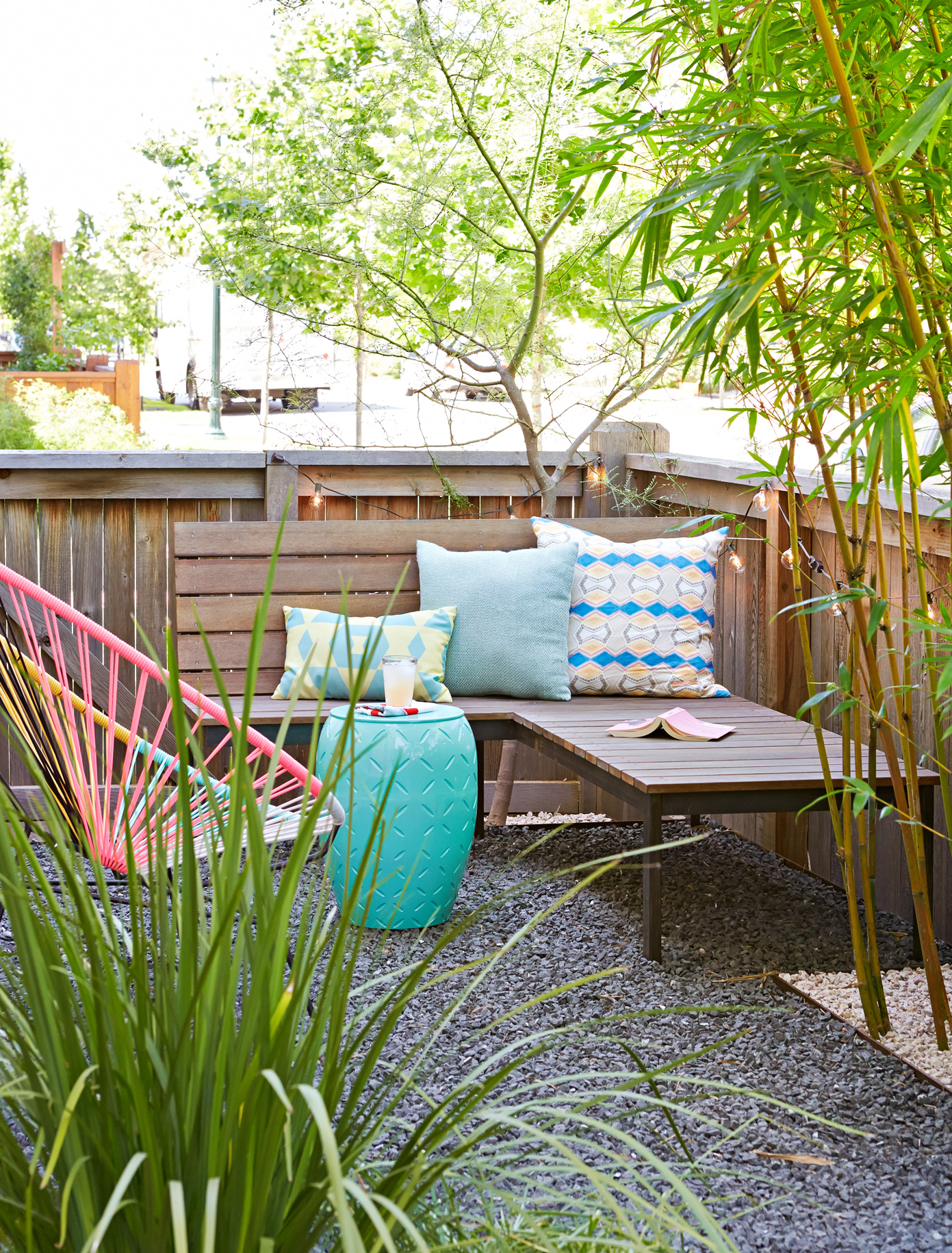 backyard patio with bamboo and seating