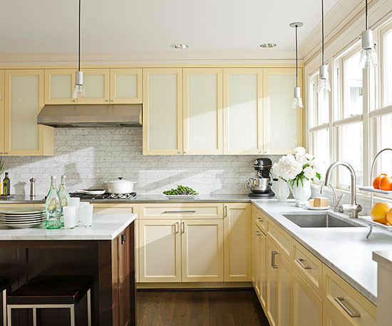 white and yellow cabinets