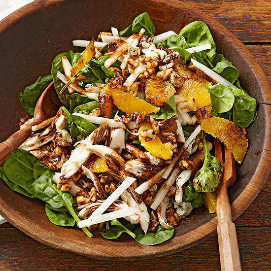 Spinach Salad with Chicken and Herb-Toasted Walnuts