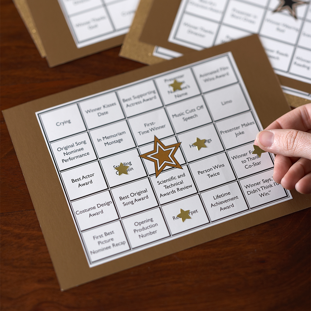 oscar party game bingo with gold stars
