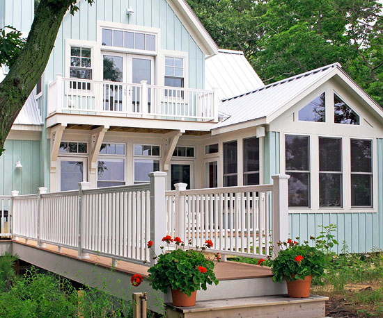 pale blue house exterior with walkway