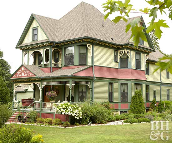 pale green victorian with red accents
