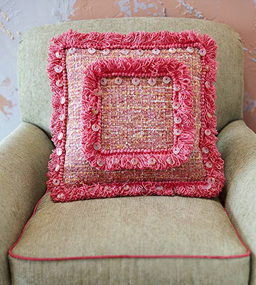 Pink tweed pillow with fringe