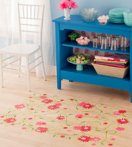 Floral and vine stenciled floor