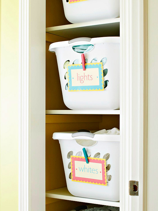 Laundry basket labels