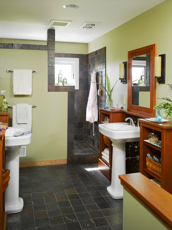 Master Bath in Shades of Green