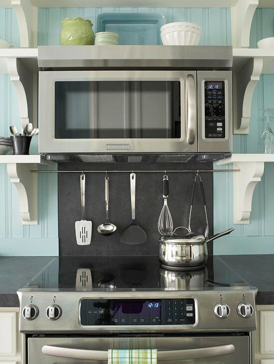 Hang Frequently Used Kitchen Utensils Just Over The Stove With An Range Hanging Rod S Hooks To Keep Them Within Arm Reach