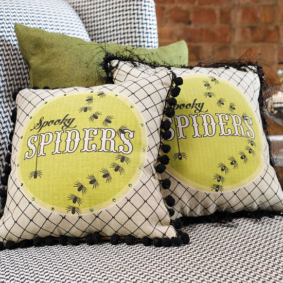 Spooky Spiders Decorative Pillow