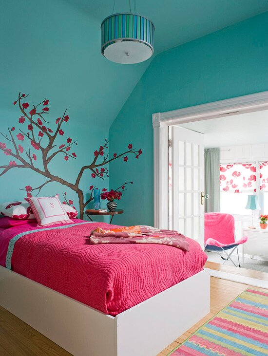 Pink And Teal S Room With Tree