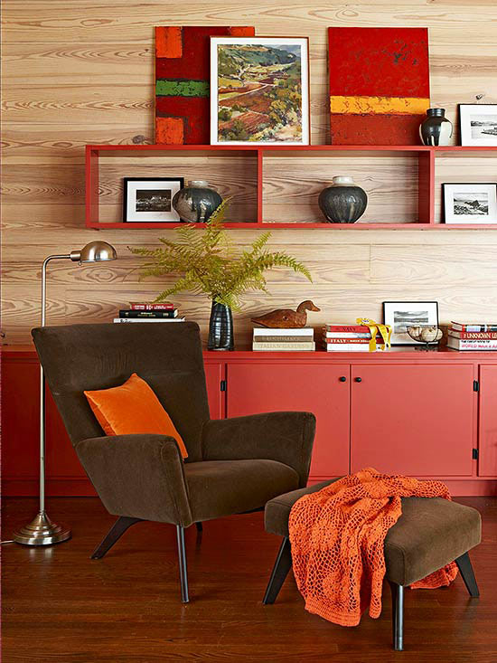 Living room furniture with red storage shelves