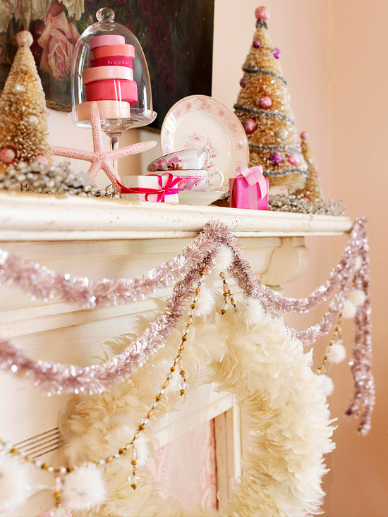 Pink and white decorated mantel