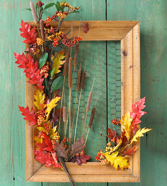 Weathered picture frame with wire and fall embellishments