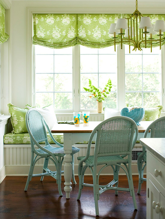 Blue and green banquette