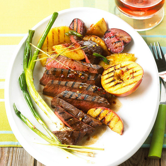 Fruit-and-Fire Flat Iron Steaks