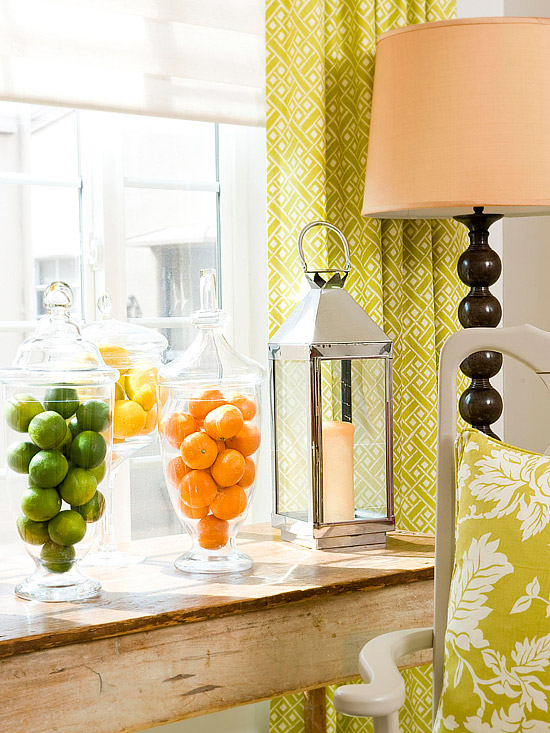 Clear vases with fruit